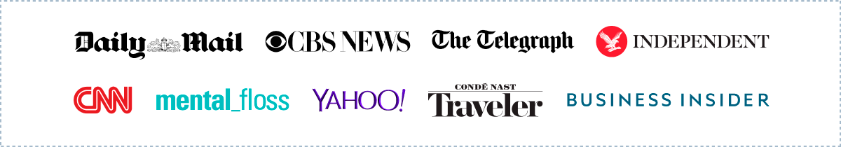 High publisher logos that picked up Travelmath campaign including CBS News, Yahoo, and more